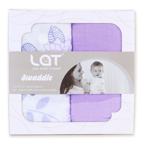 LAT 2-Pack Baby Swaddle Blanket Large Premium Muslin Swaddling Cotton with Different Patterns