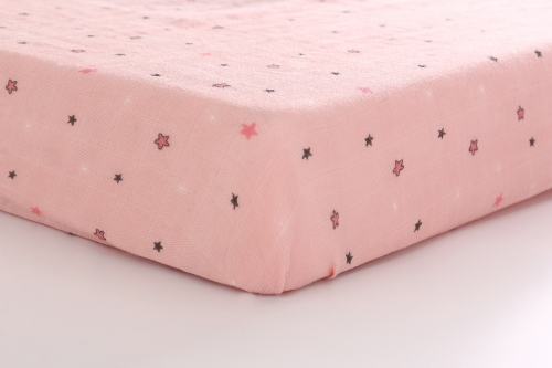 LAT Cotton Muslin Baby Crib Sheet Fitted Bedding Pre-Washed Softest Mattress Sheet for Toddler Boy or Girl